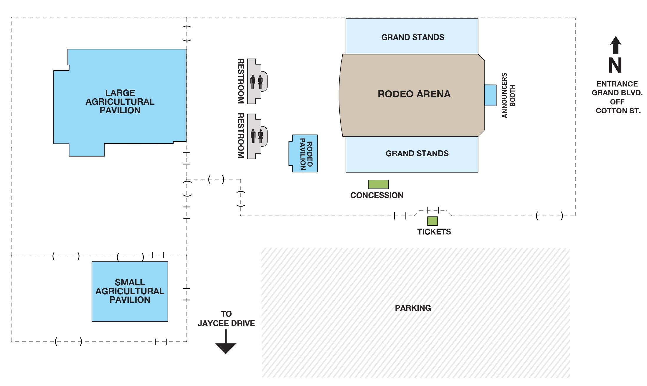 Rodeo Arena and Pavilions Layout